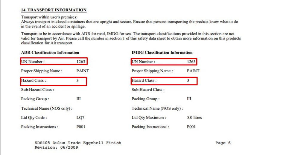 Transport information for a 5l tin of Dulux Trade: Eggshell paint