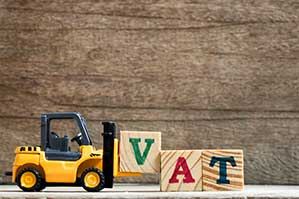 toy forklift with cubes spelling VAT value added tax
