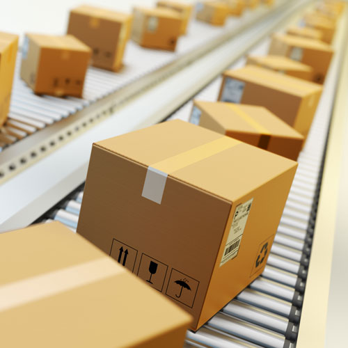 Parcels going through depot warehouse
